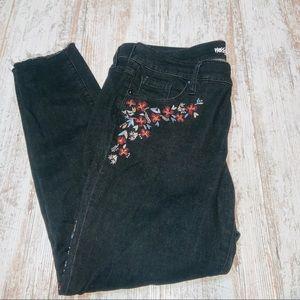 floral embroidered black jeans